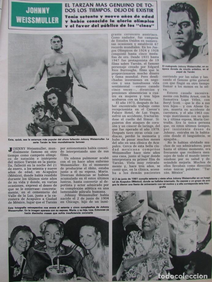 RECORTE REVISTA HOLA Nº 2058 1984 JOHNNY WEISSMULLER (Coleccionismo - Revistas y Periódicos Modernos (a partir de 1.940) - Revista Hola)