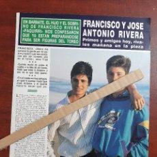 Coleccionismo de Revista Hola: FRANCISCO Y JOSE ANTONIO RIVERA -ENTREVISTA- RECORTE 2 PAG. REVISTA HOLA AÑO 1989. Lote 194400443