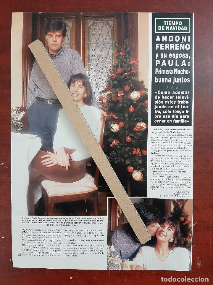 ANDONI FERREÑO Y ESPOSA PAULA - ENTREVISTA- RECORTE 1 PAG. HOLA AÑO 1992 (Coleccionismo - Revistas y Periódicos Modernos (a partir de 1.940) - Revista Hola)