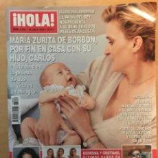 Coleccionismo de Revista Hola: REVISTA HOLA - NUM: 3860 25 JULIO 2018 - MARÍA ZURITA DE BORBÓN, POR FIN EN CASA CON SU HIJO CARLOS. Lote 201553015