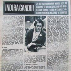 Coleccionismo de Revista Hola: RECORTE REVISTA HOLA Nº 1181 1967 INDIRA GANDHI 3 PGS. Lote 206322530
