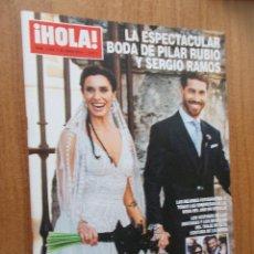 Coleccionismo de Revista Hola: HOLA - LA ESPECTACULAR BODA DE PILAR RUBIO Y SERGIO RAMOS. REVISTA Nº 3.908 - 2019. Lote 214113071