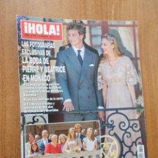 Coleccionismo de Revista Hola: REVISTA HOLA - FOTOGRAFÍAS EXCLUSIVAS DE LA BODA DE PIERRE Y BEATRICA EN MÓNACO.. Lote 214114027