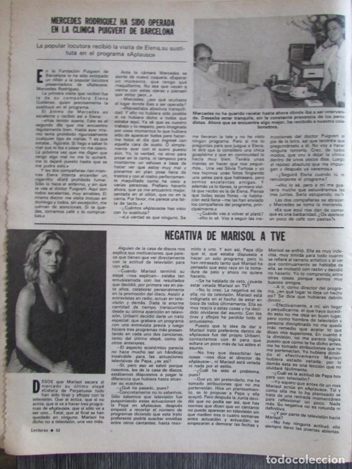 RECORTE REVISTA LECTURAS Nº 1463 1980 MARISOL, PEPA FLORES (Coleccionismo - Revistas y Periódicos Modernos (a partir de 1.940) - Revista Hola)