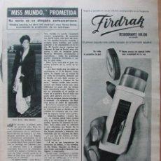 Collezionismo di Rivista Hola: RECORTE REVISTA HOLA Nº 1189 1967 MISS MUNDO REITA FARIA. Lote 228023910