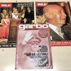 Coleccionismo de Revista Hola: LOTE 2 REVISTAS HOLA + 1 GARBO MUERTE DE FRANCO. Lote 232768910