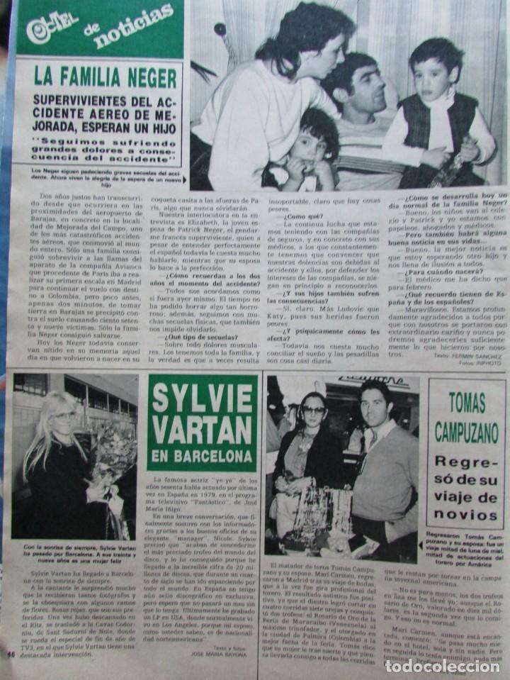 RECORTE REVISTA HOLA N.º 2155 1985 SYLVIE VARTAN, TOMÁS CAMPUZANO (Coleccionismo - Revistas y Periódicos Modernos (a partir de 1.940) - Revista Hola)