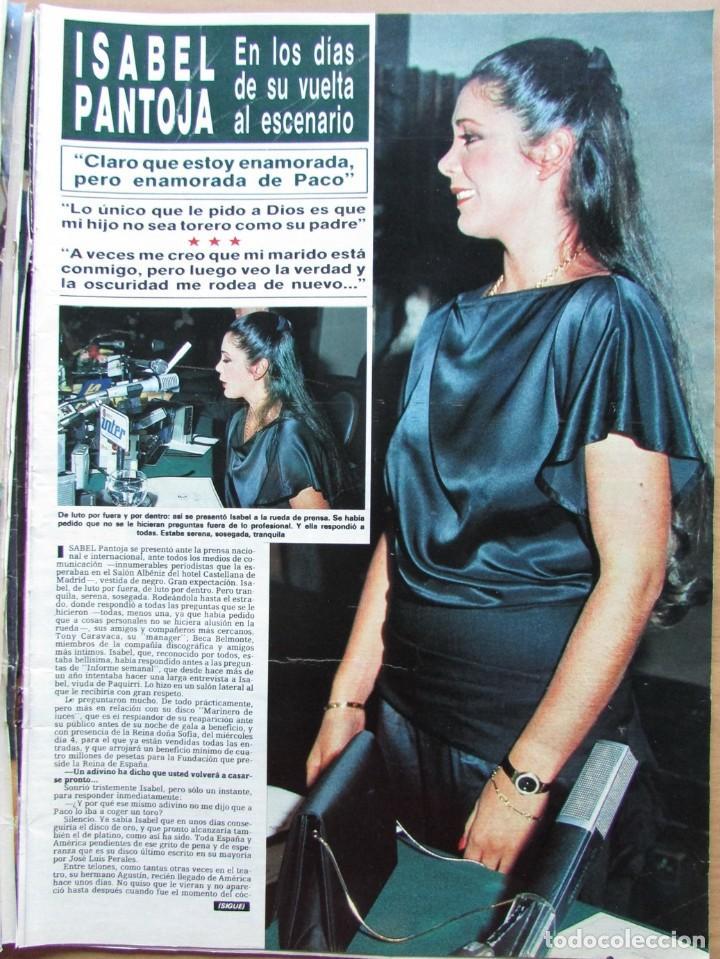 RECORTE REVISTA HOLA N.º 2155 1985 ISABEL PANTOJA 4 PGS (Coleccionismo - Revistas y Periódicos Modernos (a partir de 1.940) - Revista Hola)