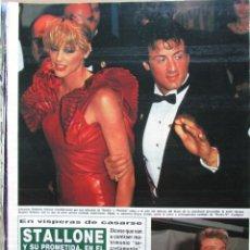 Coleccionismo de Revista Hola: RECORTE REVISTA HOLA N.º 2155 1985 SYLVESTER STALLONE, BRIGITTE NIELSEN, 2 PGS. Lote 235149700