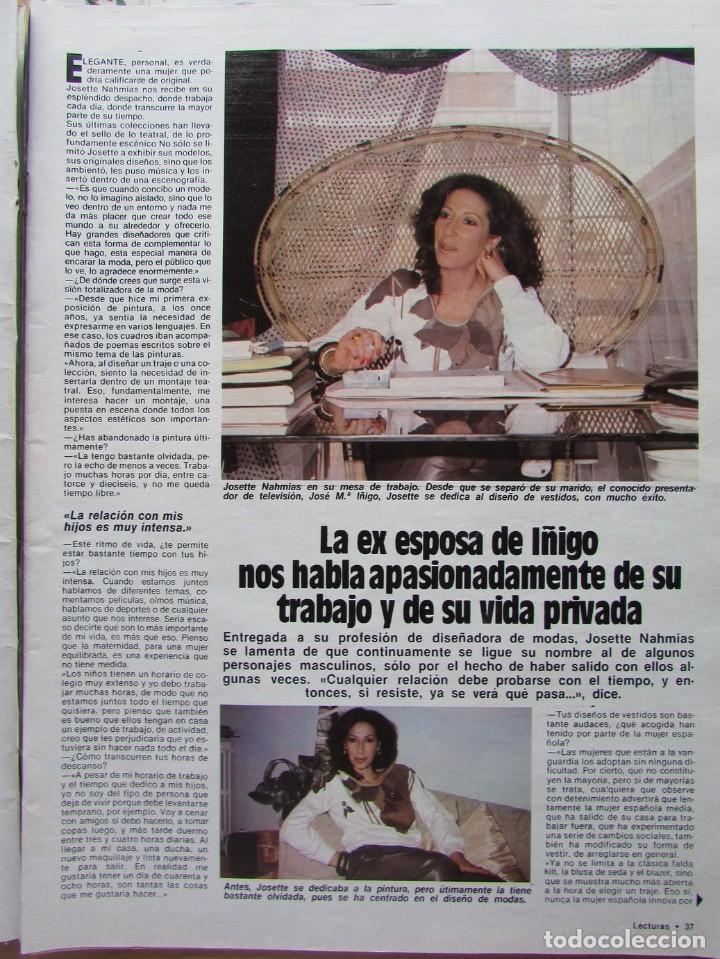 RECORTE REVISTA LECTURAS N.º 1624 1983 JOSETTE NAHMIAS 3 PGS (Coleccionismo - Revistas y Periódicos Modernos (a partir de 1.940) - Revista Hola)