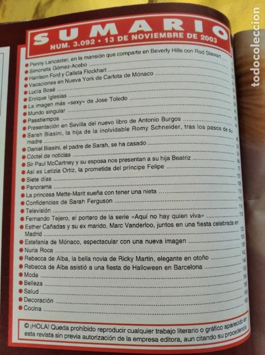 Coleccionismo de Revista Hola: HOLA - Nº 3092 - NOVIEMBRE 2003 - LETIZIA ORTIZ LA PROMETIDA DEL PRINCIPE FELIPE - (VER SUMARIO....) - Foto 2 - 235567010