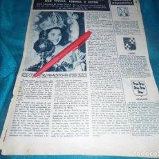 Collectionnisme de Magazine Hola: RECORTE : IEDA VARGAS, MISS UNIVERSO 1963. HOLA, AGTO 1963(#). Lote 243527940