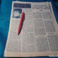 Coleccionismo de Revista Hola: RECORTE : MUERE HARPO, EL MUDO DE LOS HERMANOS MARX. HOLA, JUNIO 1963 (#). Lote 243767560