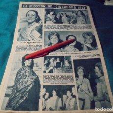 Coleccionismo de Revista Hola: RECORTE : ELECCION DE CINEGUAPA 1963. HOLA, AGTO 1963 (#). Lote 244725515