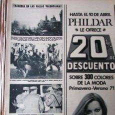 Coleccionismo de Revista Hola: RECORTE REVISTA HOLA N.º 1387 1971 TRAGEDIA EN LAS FALLAS DE VALENCIA. LIZ TAYLOR 3 PGS. Lote 254768655