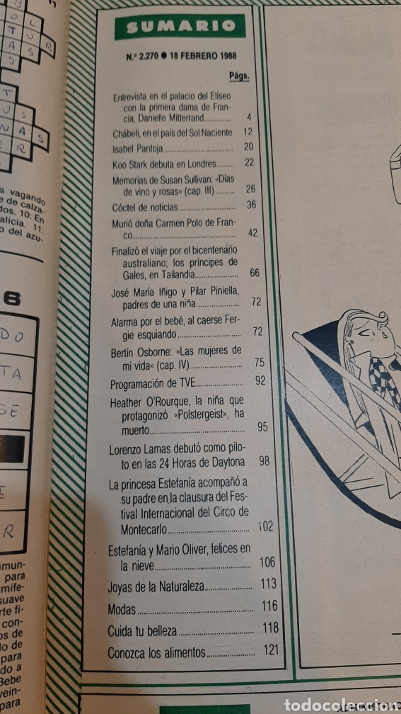 Coleccionismo de Revista Hola: HOLA AÑO 1988 ENTIERRO CARMEN POLO DE FRANCO/ CHABELI TOKIO/ ESTAFANIA / ISABEL PANTOJA DISCOS - Foto 2 - 256026440