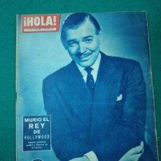 Coleccionismo de Revista Hola: REVISTA HOLA Nº 848. CLARK GABLE: MURIO EL REY DE HOLLYWOOD. 52 PAGINAS. DICIEMBRE 1960. Lote 268769339
