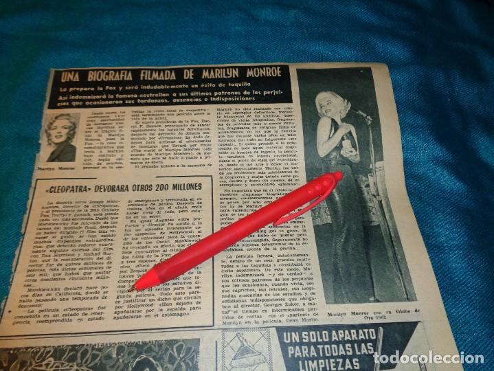 RECORTE : UNA BIOGRAFIA FILMADA DE MARILYN MONROE. HOLA, DCMBRE 1962(#) (Coleccionismo - Revistas y Periódicos Modernos (a partir de 1.940) - Revista Hola)