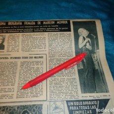 Coleccionismo de Revista Hola: RECORTE : UNA BIOGRAFIA FILMADA DE MARILYN MONROE. HOLA, DCMBRE 1962(#). Lote 268871769