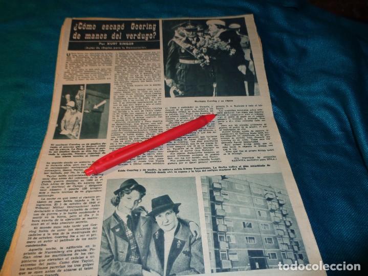 RECORTE : ¿COMO ESCAPO GOERING DEL VERDUGO?. HOLA, SPTMBRE 1963(#) (Coleccionismo - Revistas y Periódicos Modernos (a partir de 1.940) - Revista Hola)