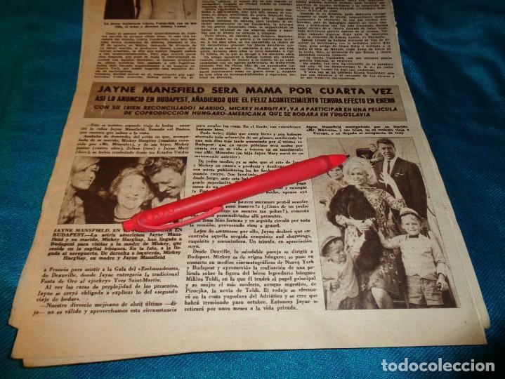 RECORTE : JAYNE MANSFIELD, MADRE POR CUARTA VEZ. HOLA, SPTMBRE 1963(#) (Coleccionismo - Revistas y Periódicos Modernos (a partir de 1.940) - Revista Hola)
