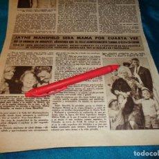 Coleccionismo de Revista Hola: RECORTE : JAYNE MANSFIELD, MADRE POR CUARTA VEZ. HOLA, SPTMBRE 1963(#). Lote 268872069