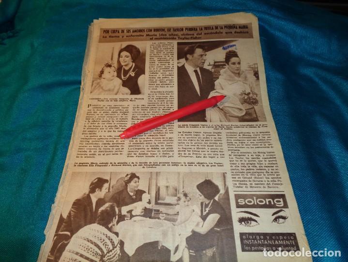 RECORTE : LIZ TAYLOR, PUEDE PERDER LA TUTELA DE SU HIJA MARIA. HOLA, ABRIL 1963(#) (Coleccionismo - Revistas y Periódicos Modernos (a partir de 1.940) - Revista Hola)