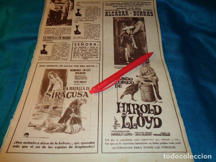 RECORTE : PUBLICIDAD PELICULA : EL MUNDO COMICO DE HAROLD LLOYD. HOLA, ABRIL 1963(#) (Coleccionismo - Revistas y Periódicos Modernos (a partir de 1.940) - Revista Hola)
