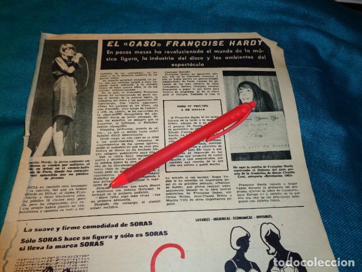 RECORTE : LA CANTANTE FRANCESA FRANÇOISE HARDY. HOLA, ABRIL 1963(#) (Coleccionismo - Revistas y Periódicos Modernos (a partir de 1.940) - Revista Hola)