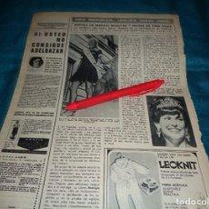 Coleccionismo de Revista Hola: RECORTE : UNA NORUEGA, ELEGIDA MUJER IDEAL 1968. LADY AMERICA. HOLA, SPTIMBRE 1968(#). Lote 269817418