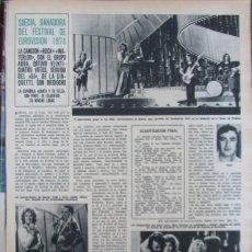 Colecionismo da Revista Hola: RECORTE REVISTA HOLA N.º 1547 1974 EUROVISIÓN. GRUPO ABBA. 2 PGS. Lote 276011443