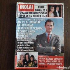 Coleccionismo de Revista Hola: REVISTA HOLA, NÚMERO 3052, 6 FEBRERP 2003. ASÍ ES EL PRÍNCIPE DE ASTURIAS AL CUMPLIR 35 AÑOS.. Lote 276091378