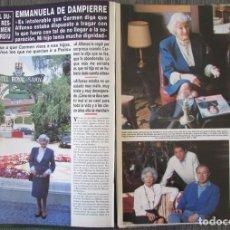 Coleccionismo de Revista Hola: RECORTE REVISTA HOLA N.º 2707 1996 EMMANUELA DE DAMPIERRE. PORTADA Y 6 PGS. Lote 276558268