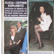 Coleccionismo de Revista Hola: RECORTE REVISTA HOLA N.º 2707 1996 ALICIA Y ESTHER KOPLOWITZ. ISABEL PREYSLER 4 PGS. Lote 276559458