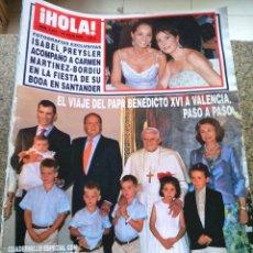 Coleccionismo de Revista Hola: REVISTA HOLA - Nº 3233 -- 19 DE JULIO 2006 -- VIAJE DEL PAPA BENEDICTO XVI A VALENCIA --. Lote 279380108