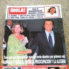 Coleccionismo de Revista Hola: REVISTA HOLA - Nº 3051 -- 30 DE ENERO 2003 -- NILO MANRIQUE / RAPHAEL Y NATALIA --. Lote 279586913