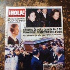 Coleccionismo de Revista Hola: REVISTA ¡HOLA!, ENTIERRO DE DOÑA CARMEN POP DE FRANCO (N° 2270, 18 FEBRERO 1988). Lote 288728693