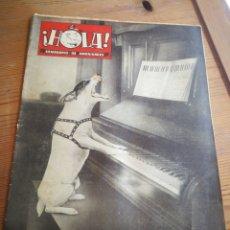 Coleccionismo de Revista Hola: REVISTA HOLA (SEMANARIO DE AMENIDADES), N°19, PORTADA FOTO FOXTERRIER PIANISTA Y CANTOR, 1945.. Lote 291173203