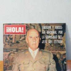 Coleccionismo de Revista Hola: ¡ HOLA ! NUM. I .628 · 8 DE NOVIEMBRE DE 1975 · 25 PTAS. LA ENFERMEDAD DE FRANCO DIA A DIA Y HORA A. Lote 291351628