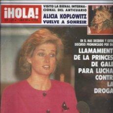 Coleccionismo de Revista Hola: REVISTA HOLA NUMERO 2337 DEL 01-06-1989. SUMARIO EN INTERIOR. Lote 297364763