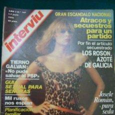 Coleccionismo de Revista Interviú: INTERVIU Nº 107 - JOSELE ROMÁN - LOS GENERALES - GUIA SEXUAL - LOS ROSON - TIERNO GALVÁN. Lote 205091891