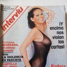 Coleccionismo de Revista Interviú: REVISTA INTERVIU Nº43 1977 BARBARA BOUCHET-MASSANA EL ULTIMO MAQUIS-VITORIA NO OLVIDA. Lote 62683744
