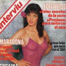 Coleccionismo de Revista Interviú: INTERVIU Nº 456 1985- MARADONA FRACASADO- EDELWEISS FOTOS DE LA SECTA- DALI SER DIOS(PROTAGONISTAS). Lote 73698035