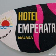 Coleccionismo de Revista Interviú: ANTIGUA ETIQUETA HOTEL EMPERATRIZ MALAGA COSTA DEL SOL – ORIGINAL – BUEN ESTADO DE CONSERVACION . Lote 100042583
