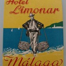 Coleccionismo de Revista Interviú: ANTIGUA ETIQUETA HOTEL LIMONAR MALAGA – ORIGINAL – PERFECTO ESTADO DE CONSERVACION. Lote 100042735