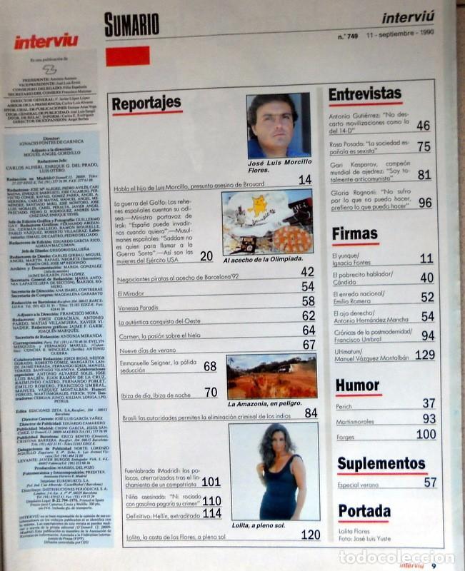 Coleccionismo de Revista Interviú: REVISTA INTERVIU Nº749 Septiembre 1990. PORTADA LOLITA FLORES DESNUDA - IBIZA - KASPAROV - Foto 2 - 116924815