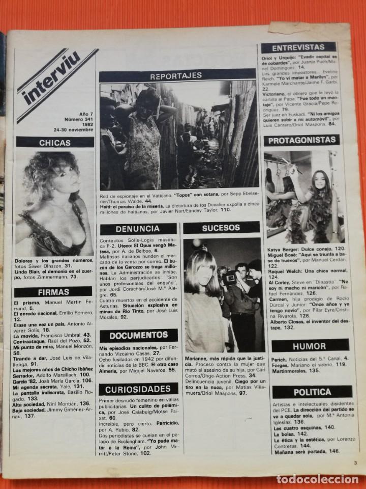 Coleccionismo de Revista Interviú: INTERVIÚ Nº 341. LINDA BLAIR (PORTADA), UN CUERPO DE MIL DEMONIOS. NOVIEMBRE 1982 - Foto 2 - 265460594
