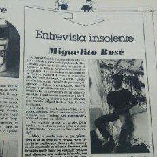 Coleccionismo de Revista Interviú: MIGUEL BOSE ENTREVISTA INSOLENTE REVISTA AÑO 1979. Lote 176967567