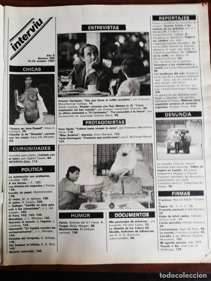 Coleccionismo de Revista Interviú: Interviu N° 388. Claudia, de Dinastía - Foto 3 - 181949072