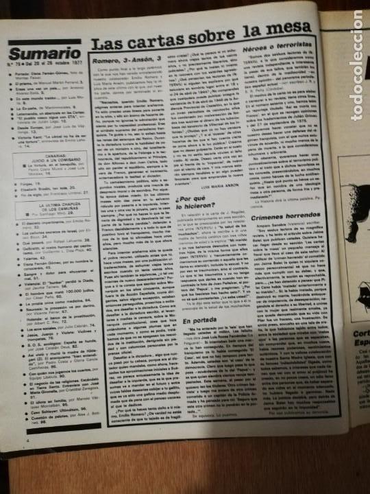 Coleccionismo de Revista Interviú: Interviu N° 75. Elena Fernán-Gómez (Portada). Letamendia. Victoria Kent - Foto 2 - 190860285